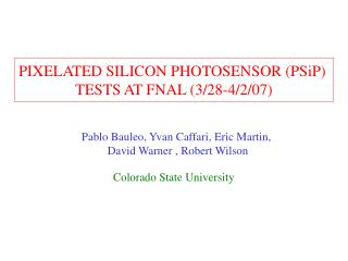 PIXELATED SILICON PHOTOSENSOR (PSiP)  TESTS AT FNAL (3/28-4/2/07)