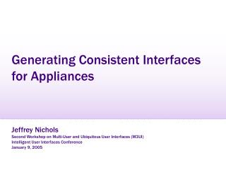 Generating Consistent Interfaces for Appliances