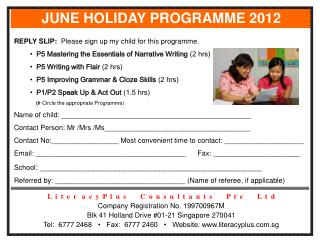 JUNE HOLIDAY PROGRAMME 2012