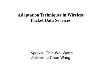 Adaptation Techniques in Wireless Packet Data Services