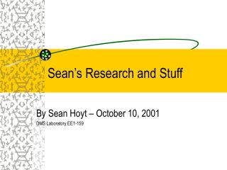 Sean's Research and Stuff