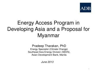 Energy Access Program in Developing Asia and a Proposal for Myanmar