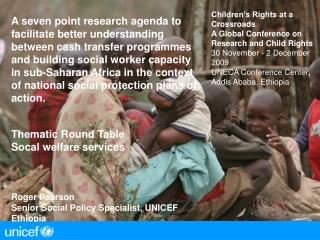 Children's Rights at a Crossroads A Global Conference on Research and Child Rights