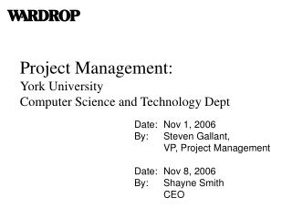 Project Management: York University Computer Science and Technology Dept