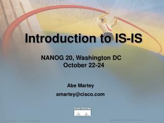 Introduction to IS-IS