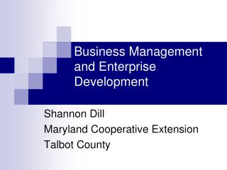 Business Management and Enterprise Development
