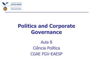 Politics and Corporate Governance