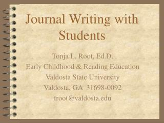 Journal Writing with Students