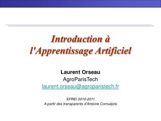 Introduction à  l'Apprentissage Artificiel