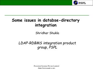Some issues in databse-directory integration