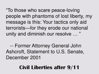 Civil Liberties after 9/11