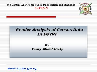Gender Analysis of Census Data In EGYPT By Tamy Abdel Hady