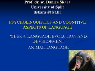 WEEK 4: LANGUAGE EVOLUTION AND DEVELOPMENT ANIMAL LANGUAGE