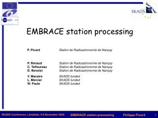 EMBRACE station processing