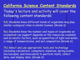 California Science Content Standards