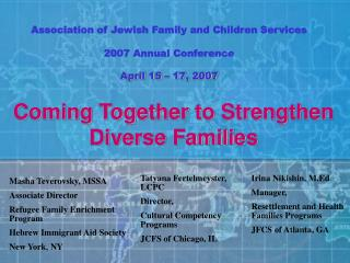 Association of Jewish Family and Children Services 2007 Annual Conference April 15 – 17, 2007