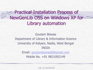 Practical Installation Process of NewGenLib OSS on Windows XP for Library automation