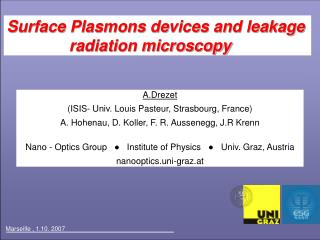 Surface Plasmons devices and leakage                   radiation microscopy