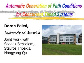 Automatic Generation of Path Conditions  for Concurrent Timed Systems