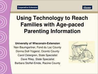 Using Technology to Reach Families with Age-paced Parenting Information