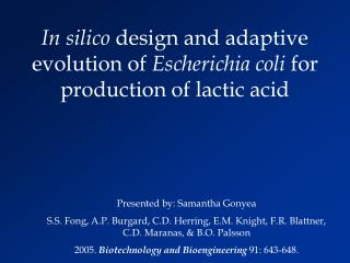 In silico  design and adaptive evolution of  Escherichia coli  for production of lactic acid