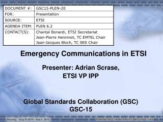 Emergency Communications in ETSI