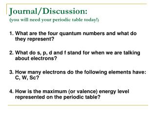 Journal/Discussion: (you will need your periodic table today! )