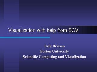 Visualization with help from SCV