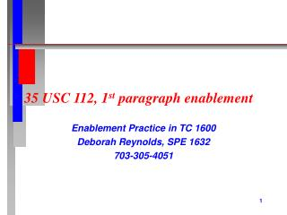 35 USC 112, 1 st  paragraph enablement