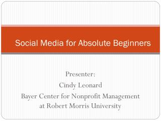 Social Media for Absolute Beginners