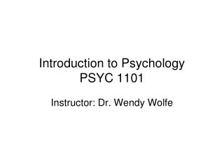 Introduction to Psychology PSYC 1101