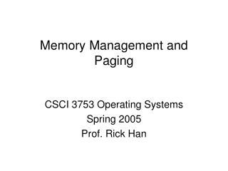 Memory Management and Paging
