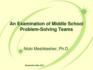 An Examination of Middle School Problem-Solving Teams