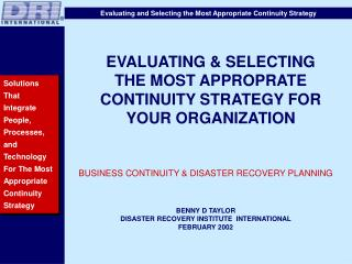 EVALUATING & SELECTING THE MOST APPROPRATE CONTINUITY STRATEGY FOR YOUR ORGANIZATION