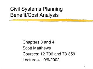 Civil Systems Planning Benefit/Cost Analysis