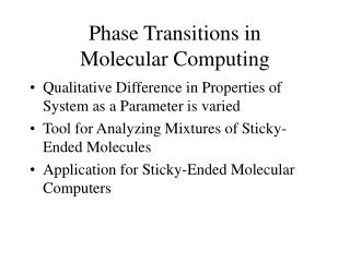 Phase Transitions in Molecular Computing