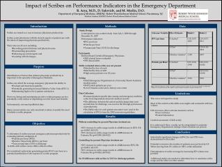 Impact of Scribes on Performance Indicators in the Emergency Department