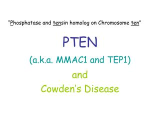 PTEN (a.k.a. MMAC1 and TEP1)
