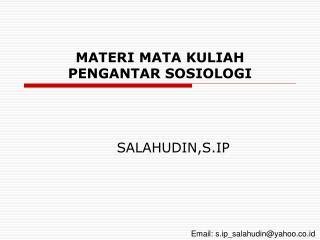 MATERI MATA KULIAH PENGANTAR SOSIOLOGI