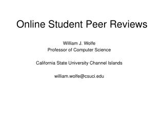 Online Student Peer Reviews