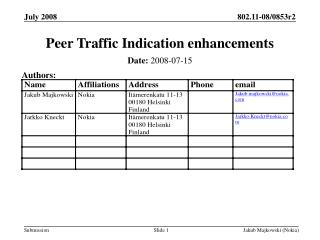 Peer Traffic Indication enhancements