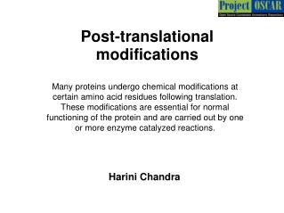 Post-translational modifications