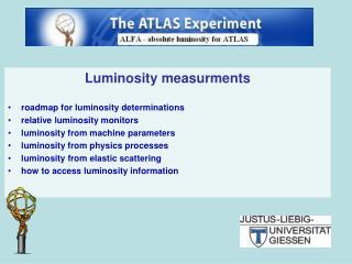Luminosity measurments roadmap for luminosity determinations relative luminosity monitors