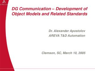 DG Communication – Development of Object Models and Related Standards