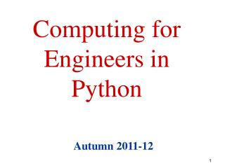 Computing for Engineers in Python