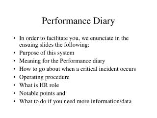 Performance Diary