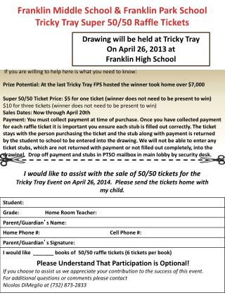 Franklin Middle School & Franklin Park School Tricky Tray Super 50/50 Raffle Tickets