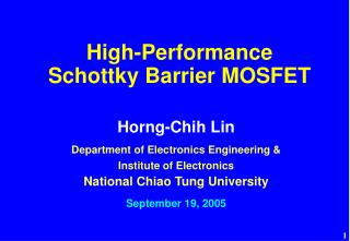 High-Performance  Schottky Barrier MOSFET