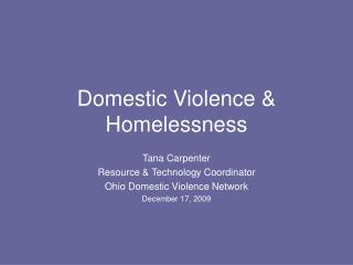 Domestic Violence & Homelessness