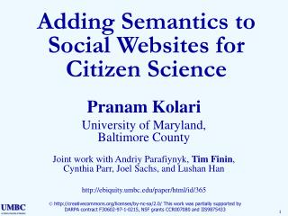 Adding Semantics to Social Websites for Citizen Science